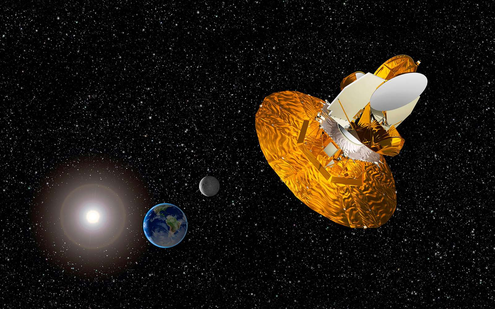 Une vue d'artiste de la sonde WMap. Elle a effectué ses observations à partir du point de Lagrange L2 du système Terre-Soleil. © Nasa, WMap Science Team
