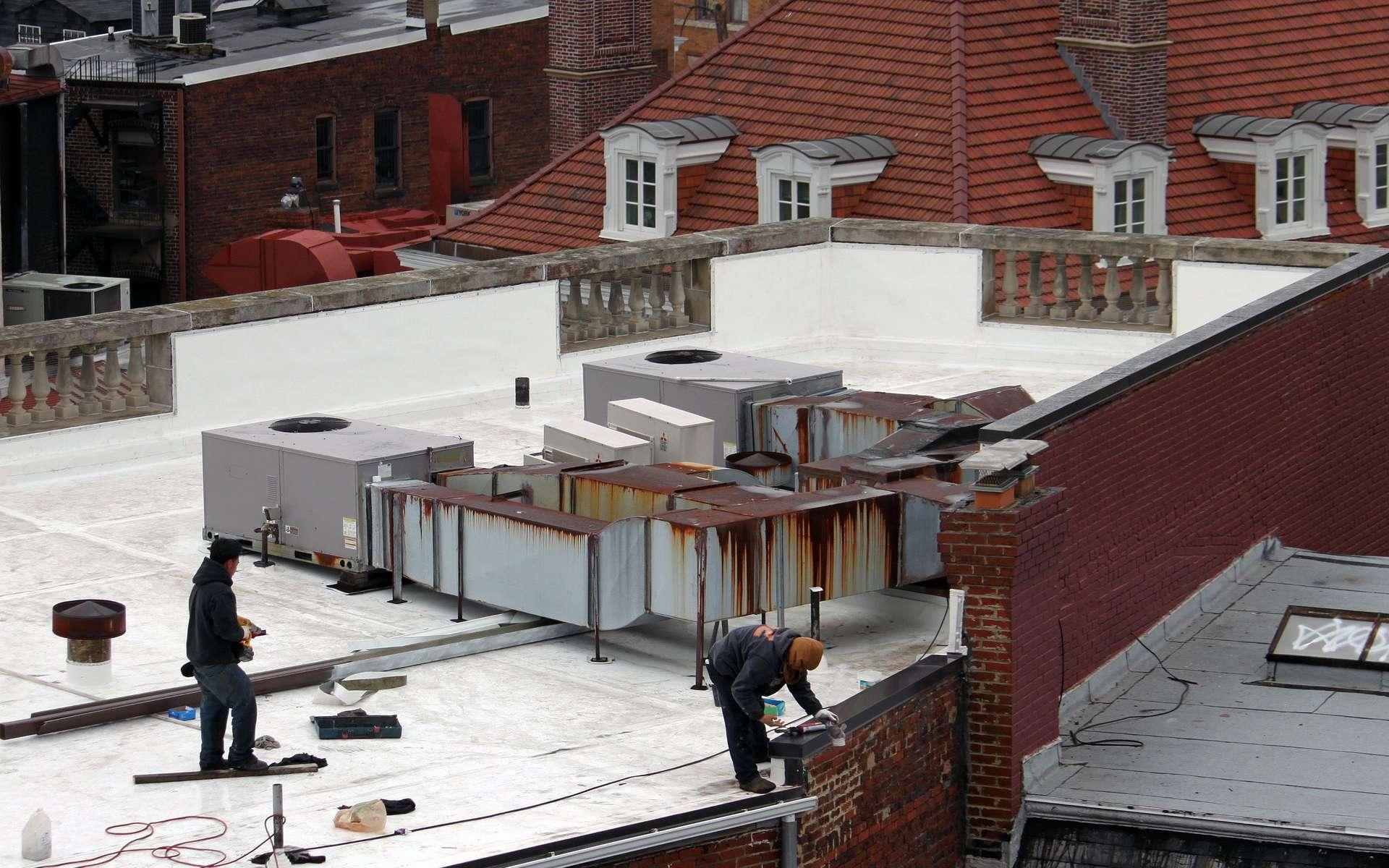 Une équipe de construction travaille sur un toit blanc dans Washington, D.C. © Maria-José Viñas / American Geophysical Union