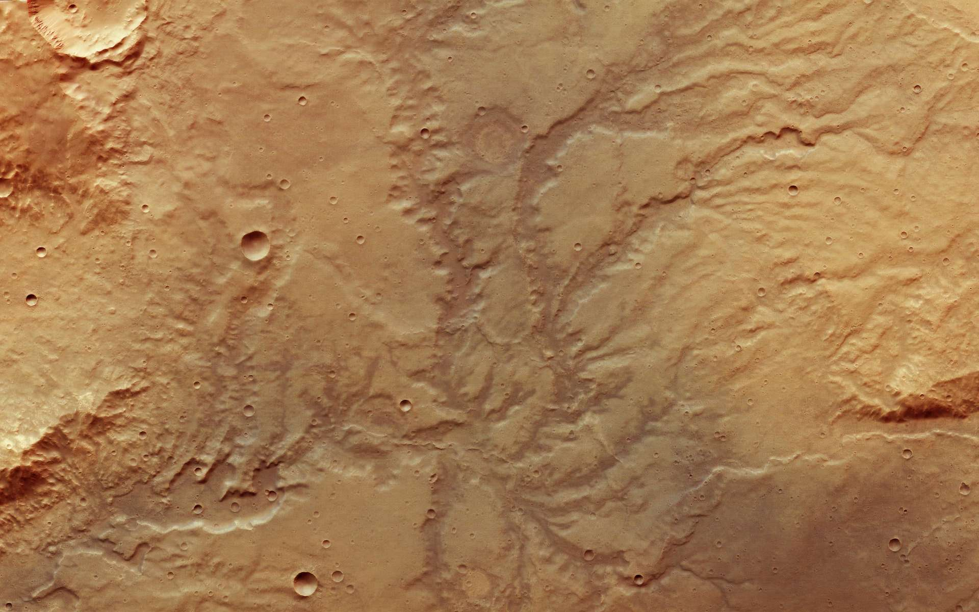 À la surface de Mars, réseau de rivières asséchées photographié par la sonde Mars Express. © ESA, DLR, FU Berlin, CC by-sa 3.0 IGO