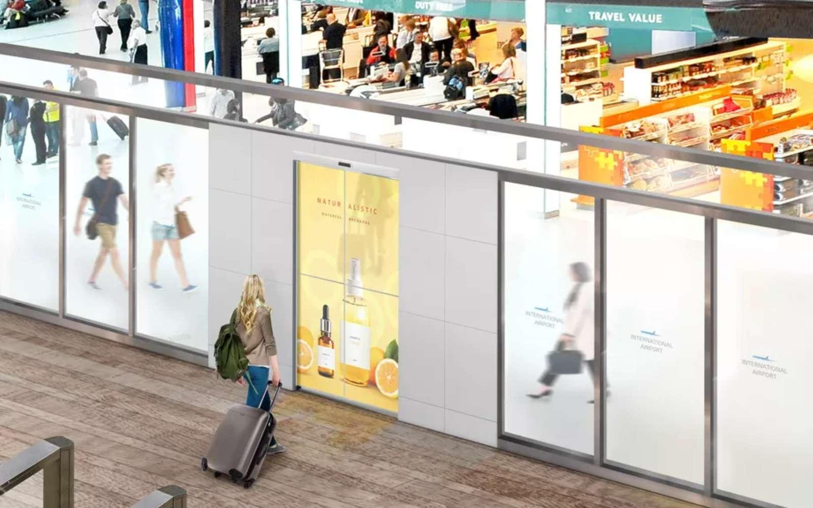 Des publicités pourraient être affichées directement sur les portes vitrées à ouverture automatique des centres commerciaux. © LG