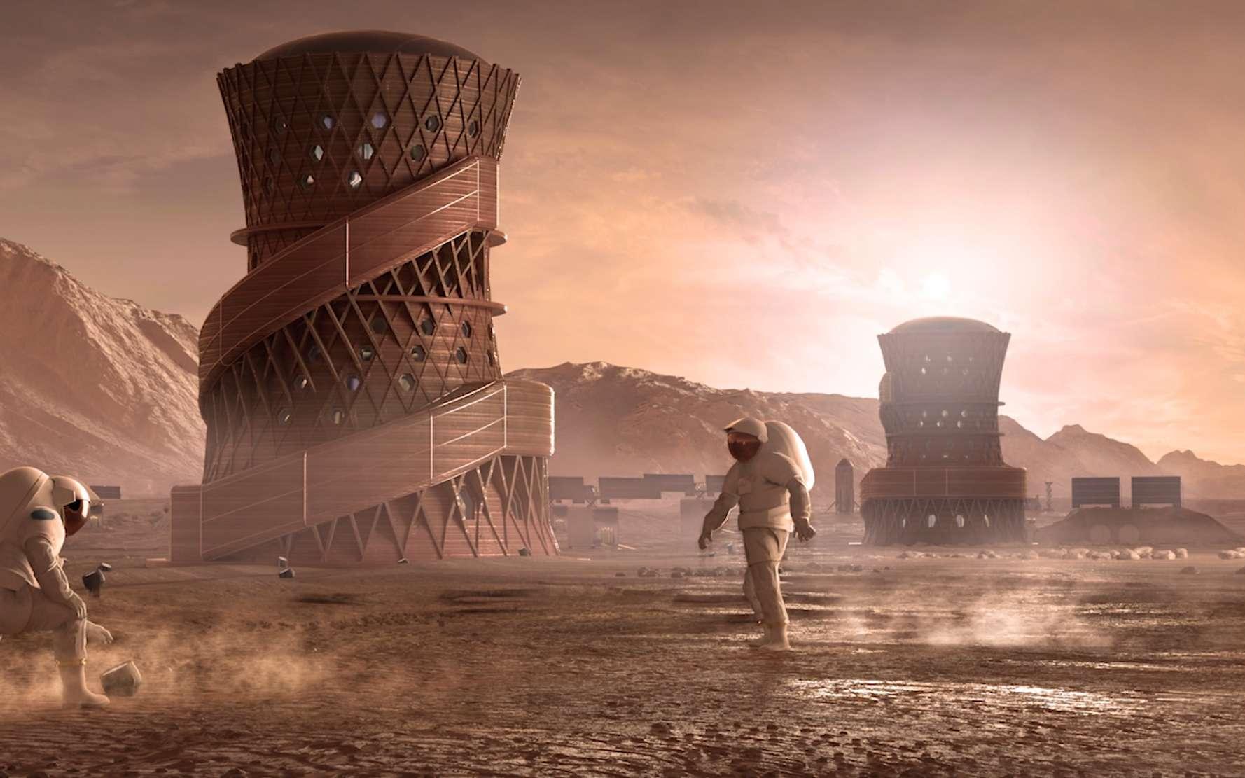 Concept d'habitat sur Mars proposé par Team SEArch+/Apis Cor qui a remporté la première place de la phase 3 du concours de la Nasa. © Team SEArch+/Apis Cor