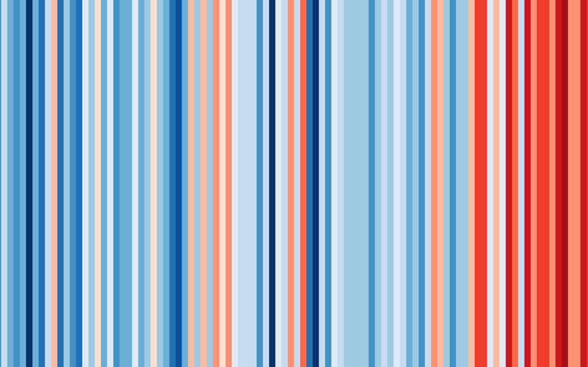 Cette image illustre les anomalies de température en France de 1901 à 2018. © ShowYourStripes