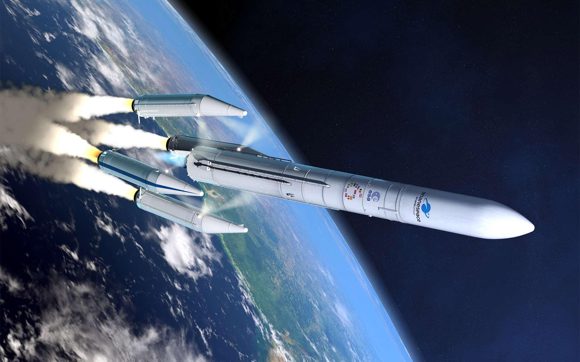 La version à quatre boosters de l'Ariane 6. Capable d'emporter deux satellites, elle se destine à l'orbite géostationnaire et ses satellites commerciaux ouverts à la concurrence. © ArianeGroup