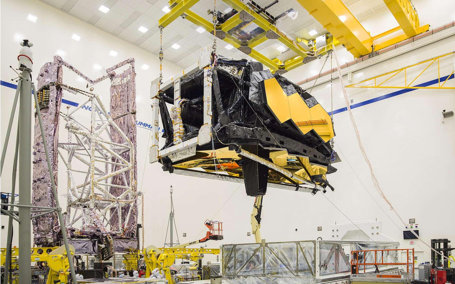 Représentation de l'observatoire spatial James-Webb une fois déployé. Le lancement du successeur d'Hubble est repoussé à mai 2020, au mieux. © Nasa