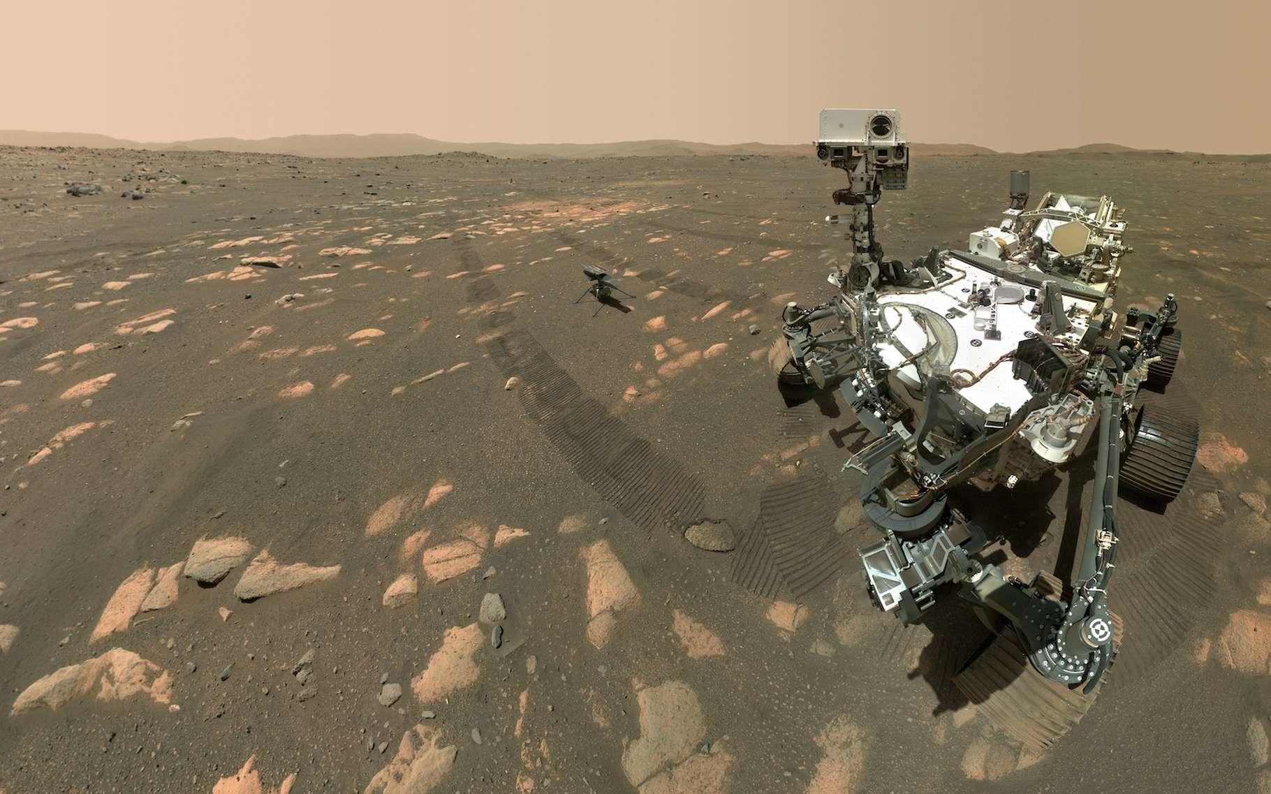 Perseverance, le dernier rover de la Nasa – ici sur Mars en compagnie d'Ingenuity – intègre un générateur thermoélectrique qui produit de l'électricité à partir de chaleur. Des chercheurs de l'université Duke et de l'université de l'État du Michigan (États-Unis) proposent aujourd'hui des matériaux plus efficaces, plus économiques et plus respectueux de l'environnement pour des applications sur Terre. © Nasa, JPL-Caltech, MSSS
