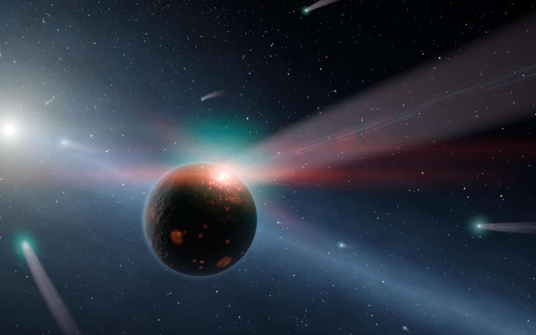 Vue d'artiste d'une proto-planète bombardée par des comètes. © NASA, JPL-Caltech