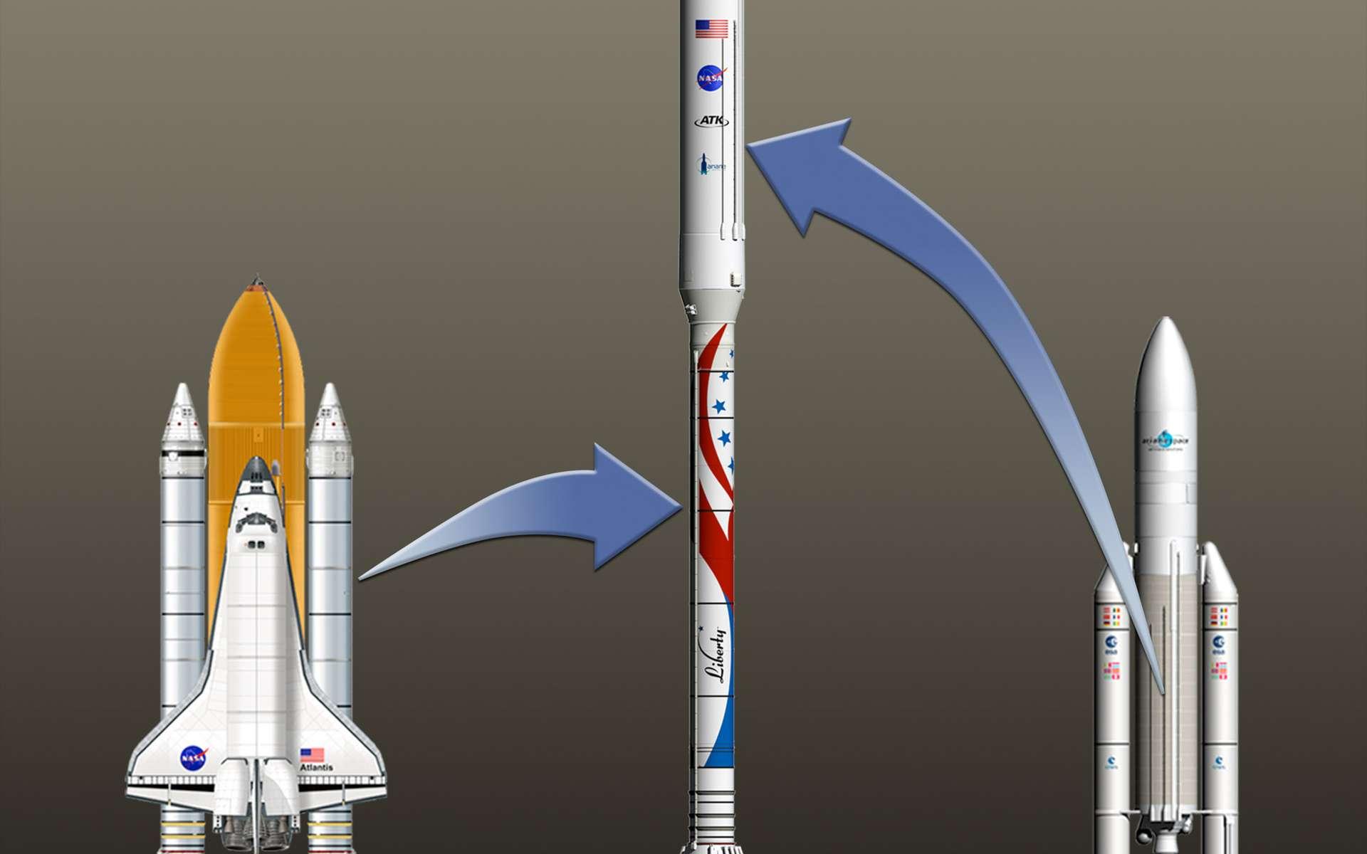 En utilisant des éléments de lanceurs existants pour en former un nouveau, ATK et Astrium font deux paris. Ils pensent mettre au point un lanceur à faible coût et aussi fiable que sont les éléments de la navette et d'Ariane 5 qu'ils réutilisent. © Alliant Techsystems Inc.