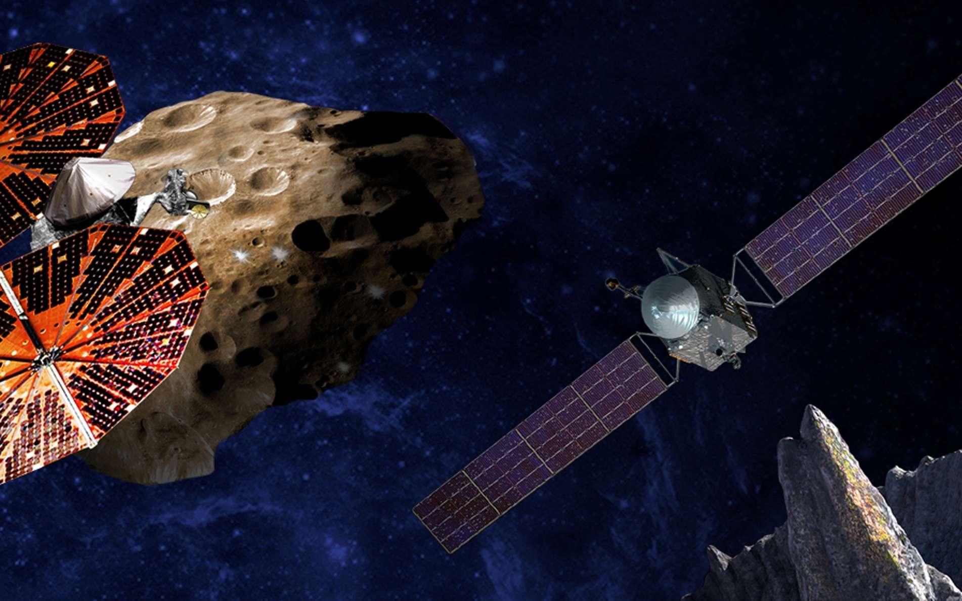 Sur cette vision d'artiste, Lucy, à gauche, explore les astéroïdes troyens et Psyché, à droite, étudie un astéroïde métallique. © Sw RI et SSL, Peter Rubin