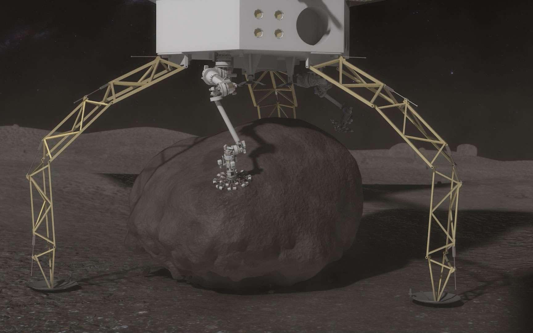 Une des solutions envisagées dans le cadre de la mission ARM est d'extraire un gros rocher sur un astéroïde à l'aide d'un bras robotisé. Un prélude à leur exploitation minière ? © Nasa