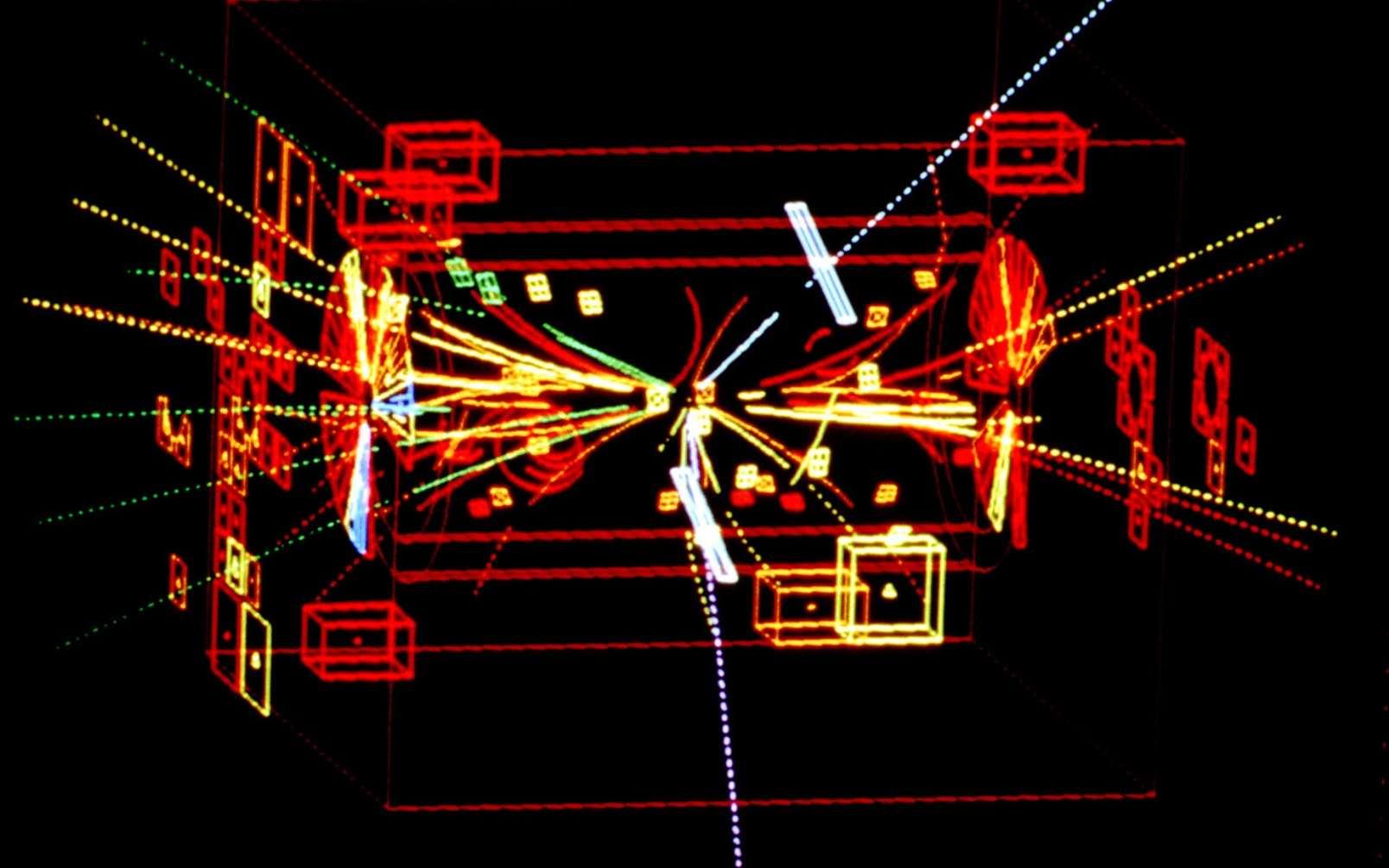 Reconstruction par ordinateur de la désintégration d'un boson Z0 en un électron et un positron enregistrée par le détecteurs UA1 au Cern au début des années 1980. Il s'agit là de la première détection d'un Z0 par UA1. © UA1/Cern