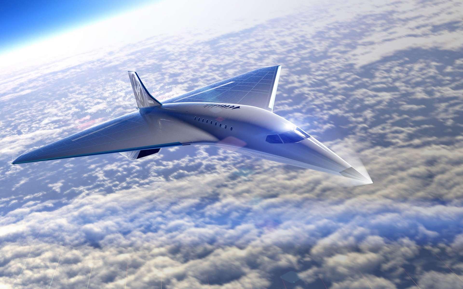Vue d'artiste du projet préliminaire de l'avion supersonique, en forme d'aile delta de Virgin Galactic. © Virgin Galactic