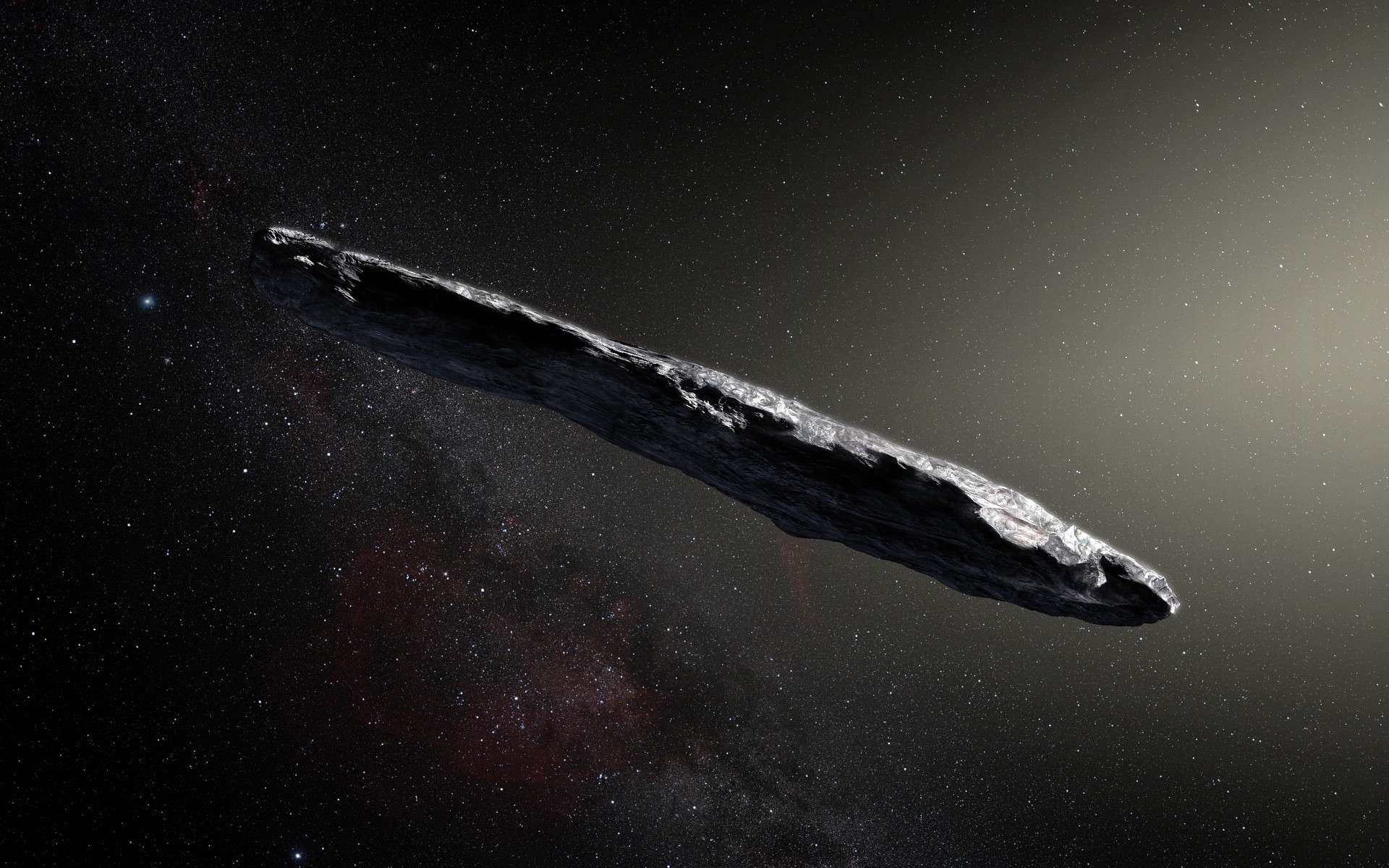 Illustration du premier astéroïde interstellaire jamais découvert, ʻOumuamua. © ESO, M. Kornmesser