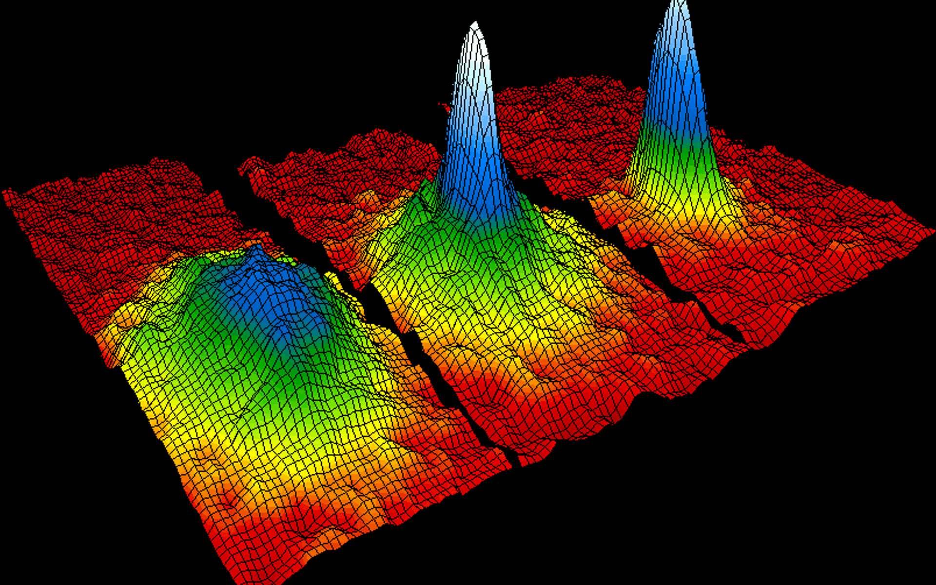 Les chercheurs ont réalisé un condensat de Bose-Einstein et révélé un effet EPR avec 480 atomes. Ce record devrait permettre de mieux comprendre le monde de la physique quantique. Ici, un graphique montrant la formation d'un condensat de Bose-Einstein en trois états successifs : les atomes sont de plus en plus denses (de la gauche vers la droite). © NIST Image
