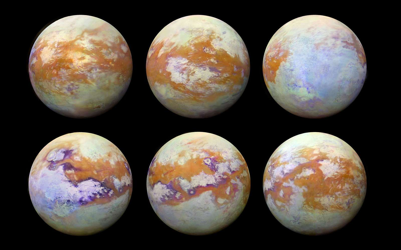 Les six images montrant en fausses couleurs la surface de Titan en infrarouge. © Nasa/ESA