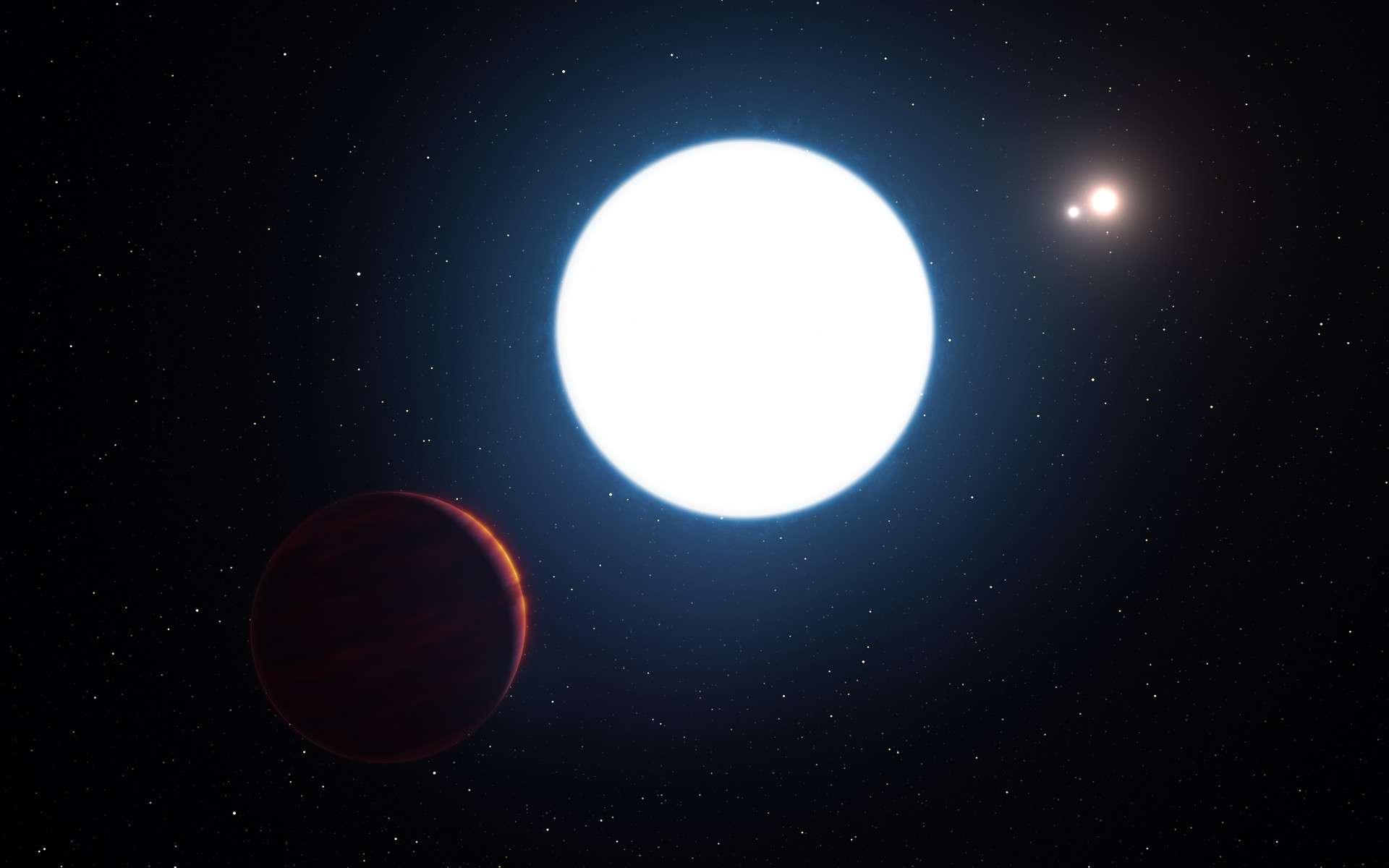 Cette représentation d'artiste montre le système d'étoiles triple HD 131399 vu depuis les environs de la planète géante en orbite au sein du système. La planète a été baptisée HD 131399 Ab. Elle se situe dans l'angle inférieur gauche de l'image. © ESO/L. Calçada/M. Kornmesser