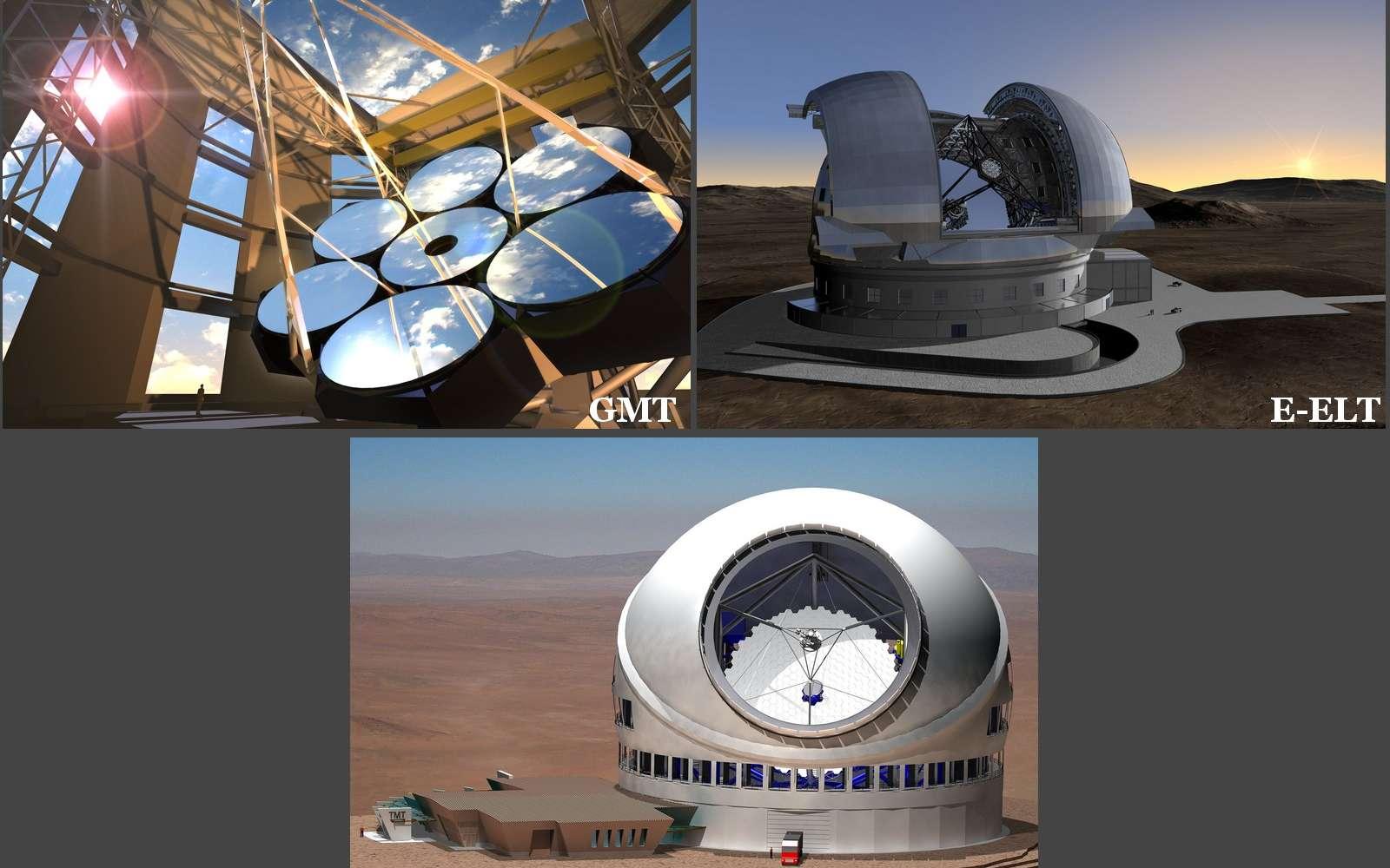 GMT, E-ELT et TMT. Trois projets pharaoniques pour approcher les débuts de l'univers. © GMT/ESO/TMT