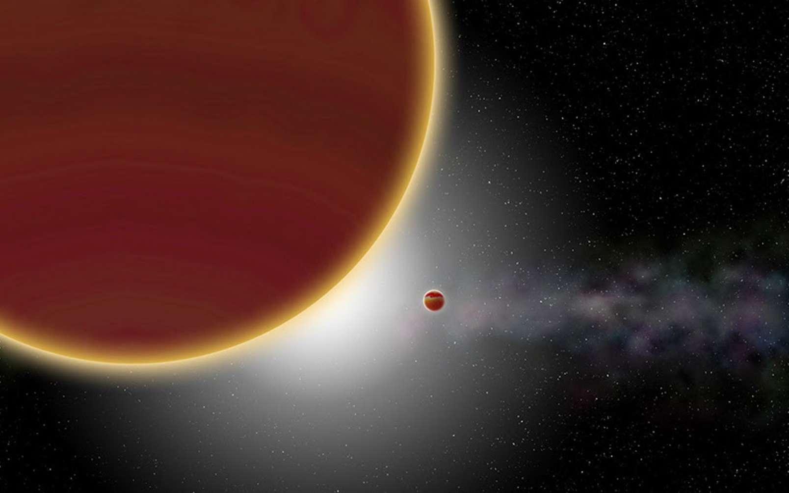 Vue d'artiste du système β Pictoris. Au moins deux planètes géantes, âgées de 23 millions d'années tout au plus, orbitent autour de l'étoile (non visible) : β Pictoris c, la plus proche et qui vient d'être découverte, et β Pictoris b, plus éloignée. Le disque de poussières et de gaz est visible à l'arrière-plan. © P Rubini / AM Lagrange