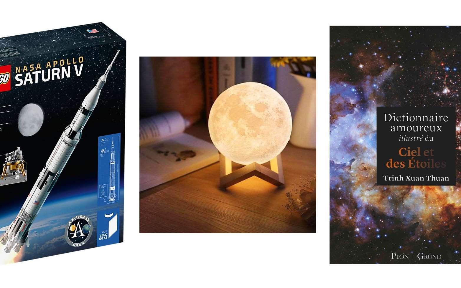 Idées de cadeaux de Noël pour les fans d'espace et d'astronomie. © Lego, Nature et Découverte, Gründ