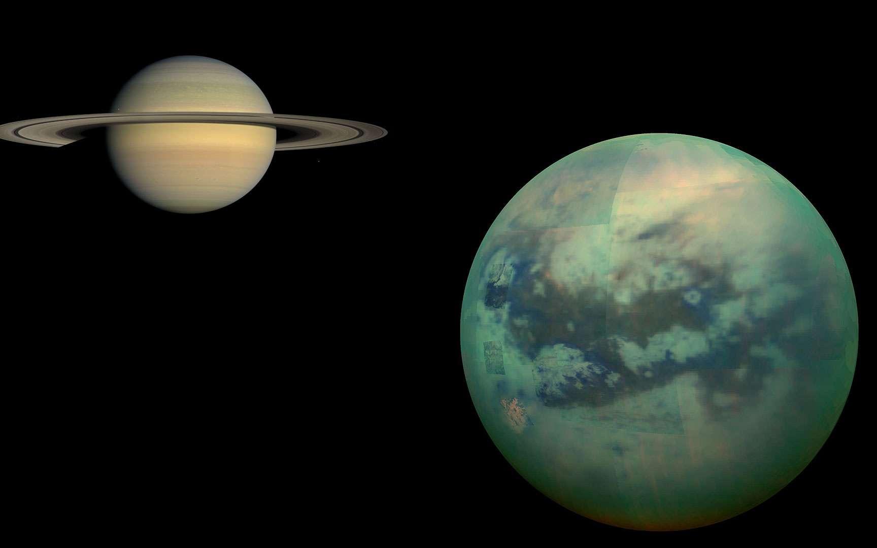 Titan (5.151 km de diamètre) est le plus grand satellite de Saturne. On voit ici une image recomposée de la surface de Titan en infrarouge à travers son atmosphère vue par la sonde Cassini. © Nasa, JPL, University of Arizona, University of Idaho