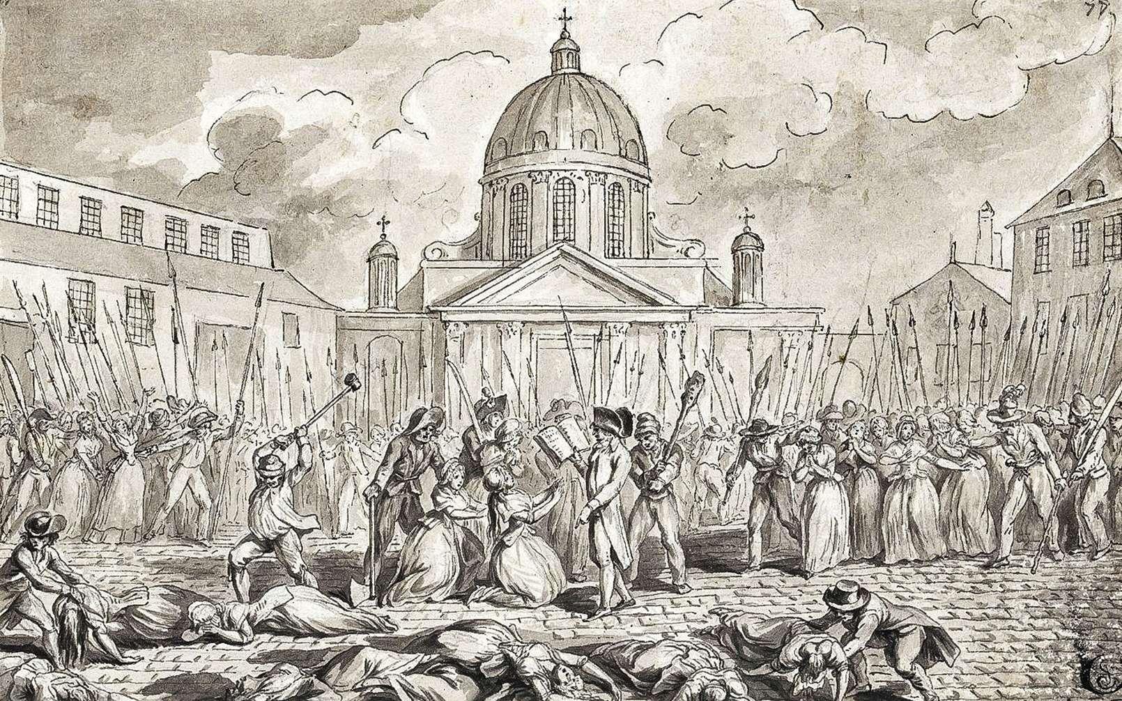 Plus d'un millier de détenus ont été tués lors des massacres de septembre. Massacre à la Salpêtrière, 3 septembre 1792. © Inconnu, Wikimedia Commons, Domaine public