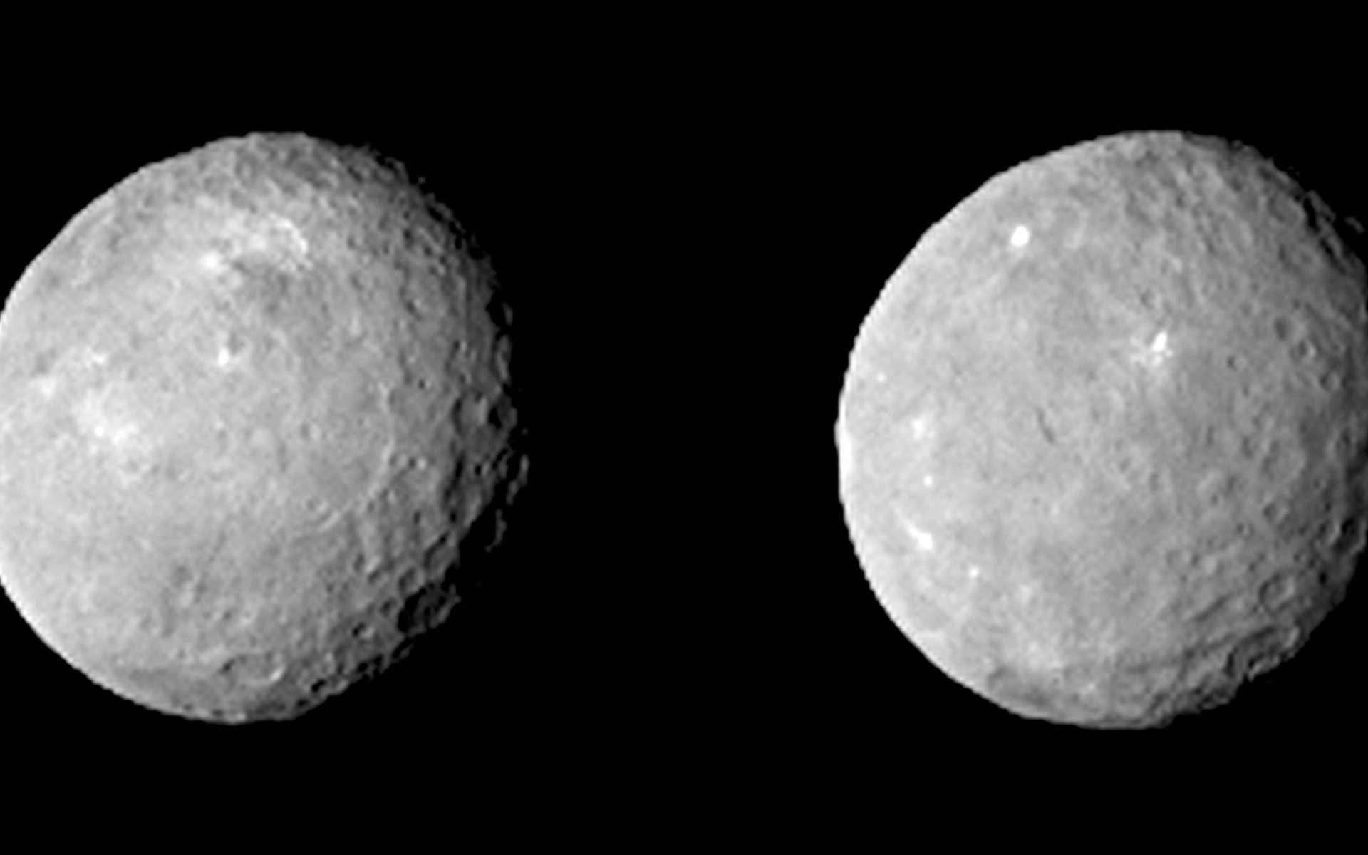 Cérès photographiée à 10 heures d'intervalle par Dawn, le 12 février 2015. La sonde spatiale était alors à 83.000 km de la planète naine d'environ 950 km de diamètre. Sa période de rotation est de 9 heures et 4 minutes. © Nasa, JPL-Caltech, Ucla, MPS, DLR, IDA