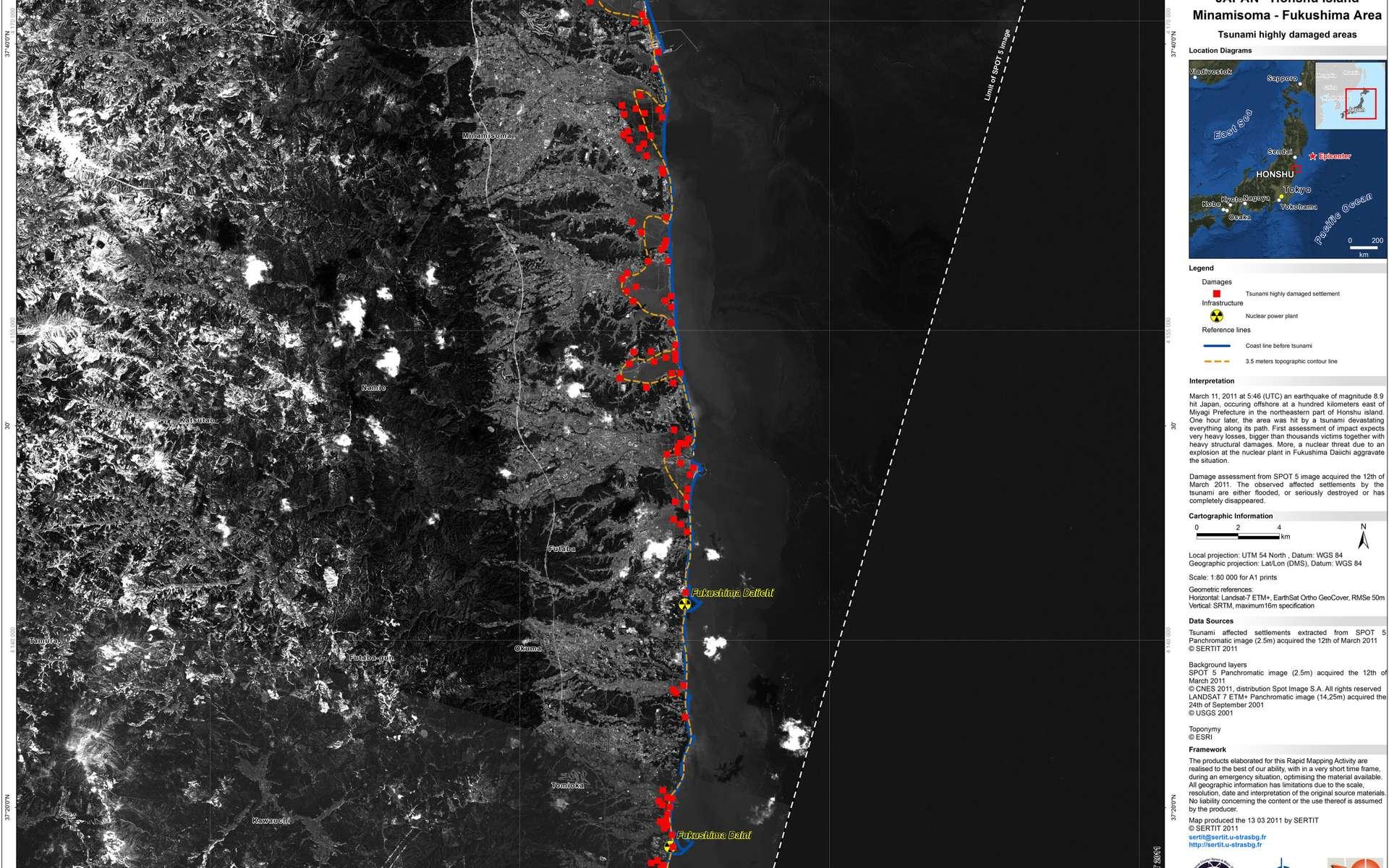 Image prise par Spot-5 le 12 mars 2011 de la région de Fukushima, après le tsunami, et mise en ligne par le Sertit (Service régional de traitement d'image et de télédétection). © Sertit