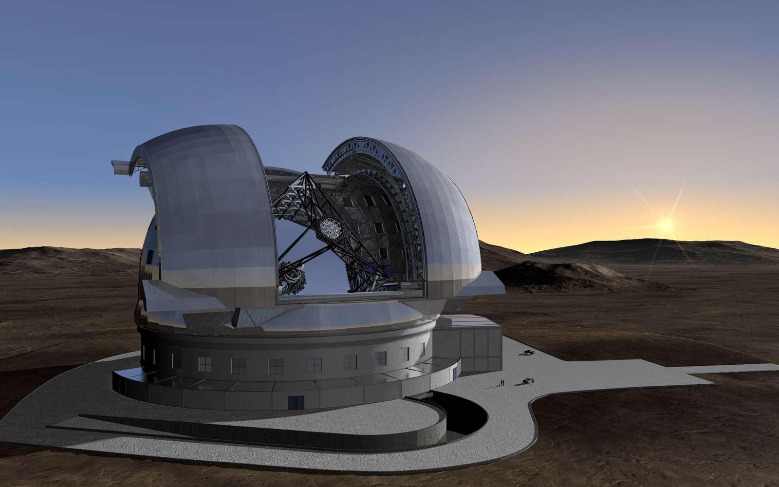 Une image de synthèse de l'E-ELT (European Extremely Large Telescope), qui laisse deviner le miroir géant de 42 mètres, constitué de 906 segments. Crédit ESO