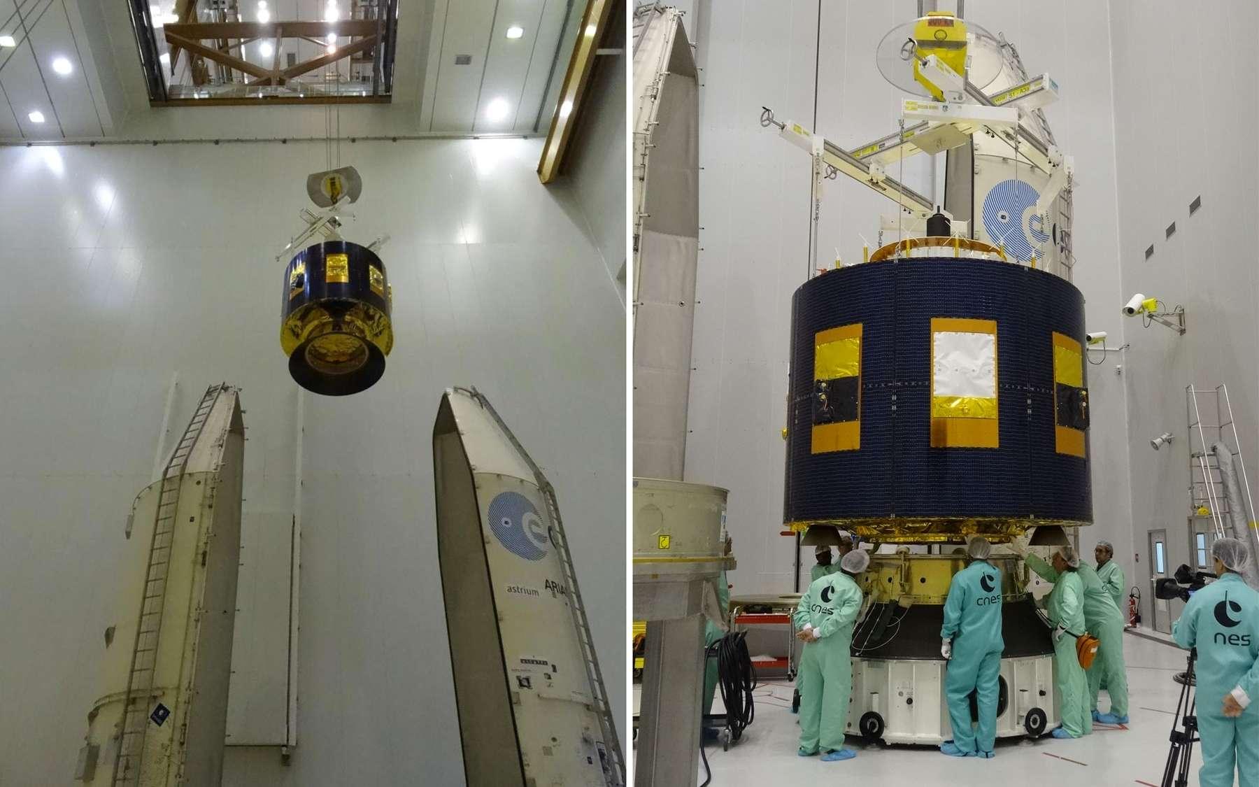 Le satellite MSG 4 avant sa mise sous la coiffe du lanceur Ariane 5 ECA. © Esa, Cnes, Arianespace, Service optique CSG