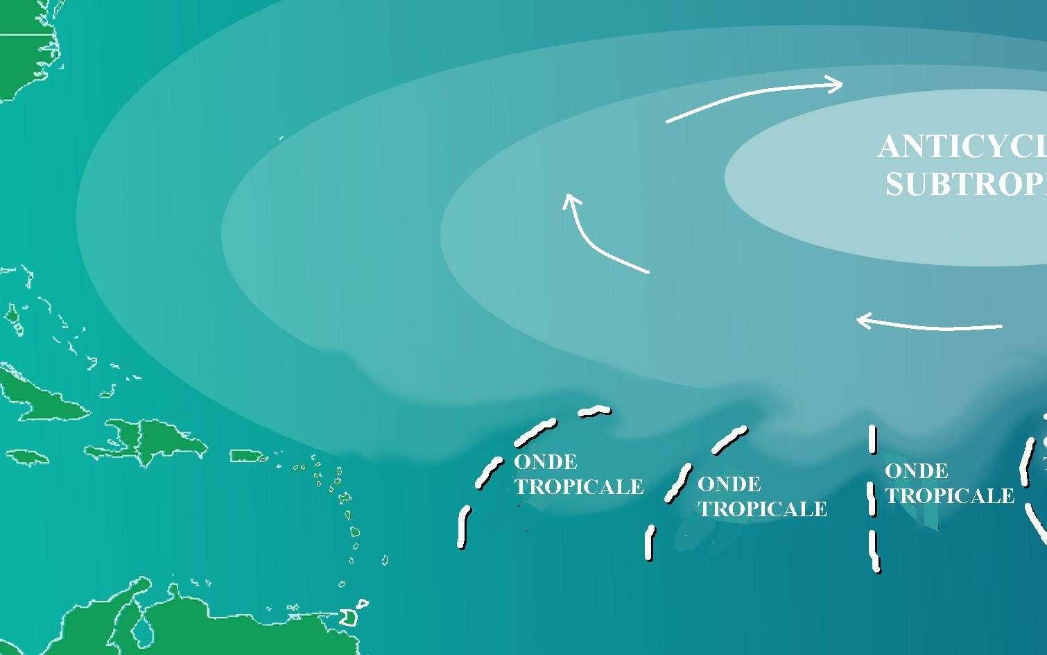 Un anticyclone subtropical peut avoir une amplitude de plusieurs milliers de kilomètres. C'est le cas de celui des Açores qui maintient le beau temps sur le sud de la France durant l'été. © Pierre_cb via NOAA, Wikipédia, DP