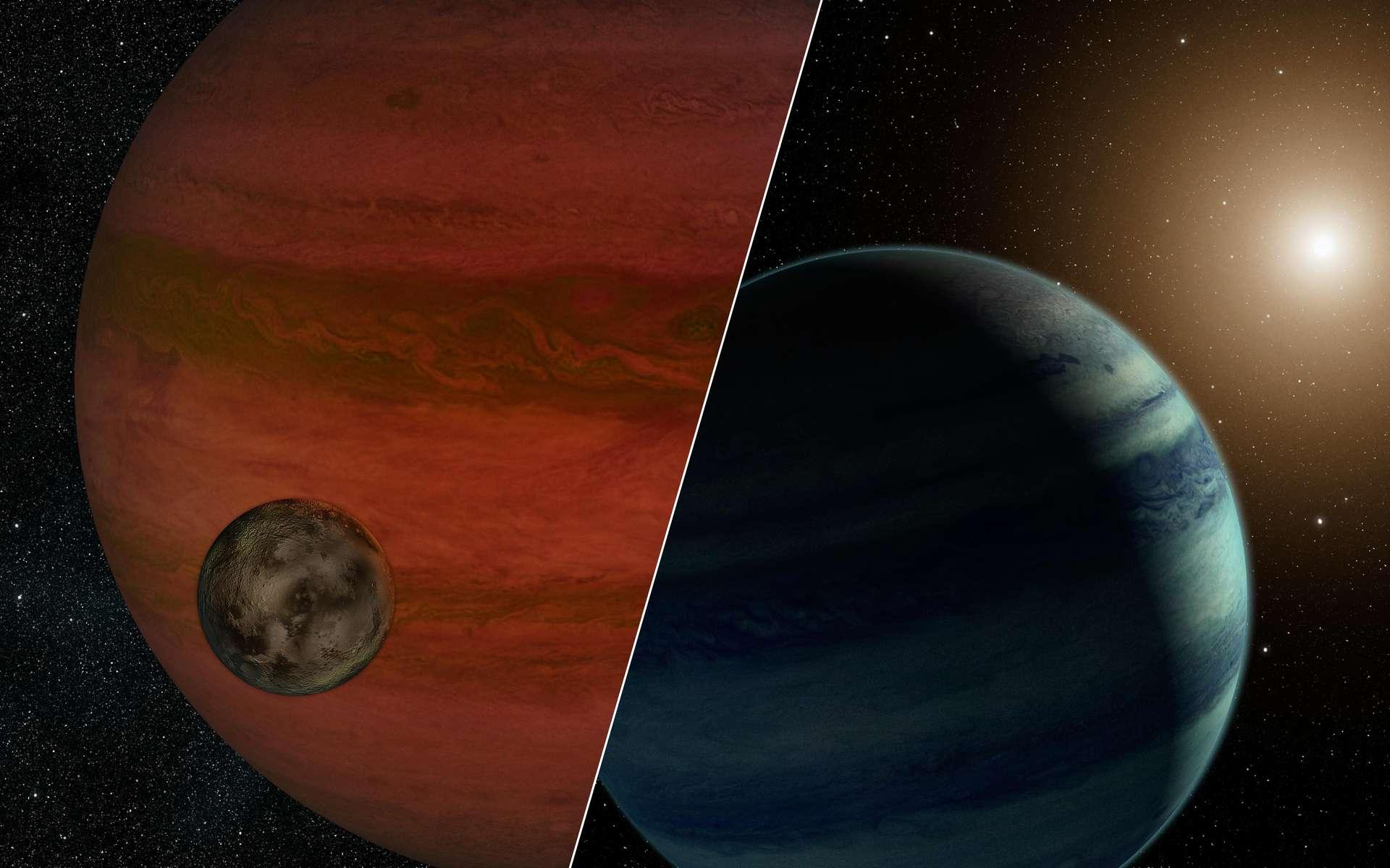 Des vues d'artistes montrant les deux hypothèses en lice pour interpréter l'effet de microlentille gravitationnelle MOA-2011-BLG-262. À gauche, une exolune autour d'une exoplanète nomade, et une exoplanète autour d'une naine rouge à droite. © Nasa