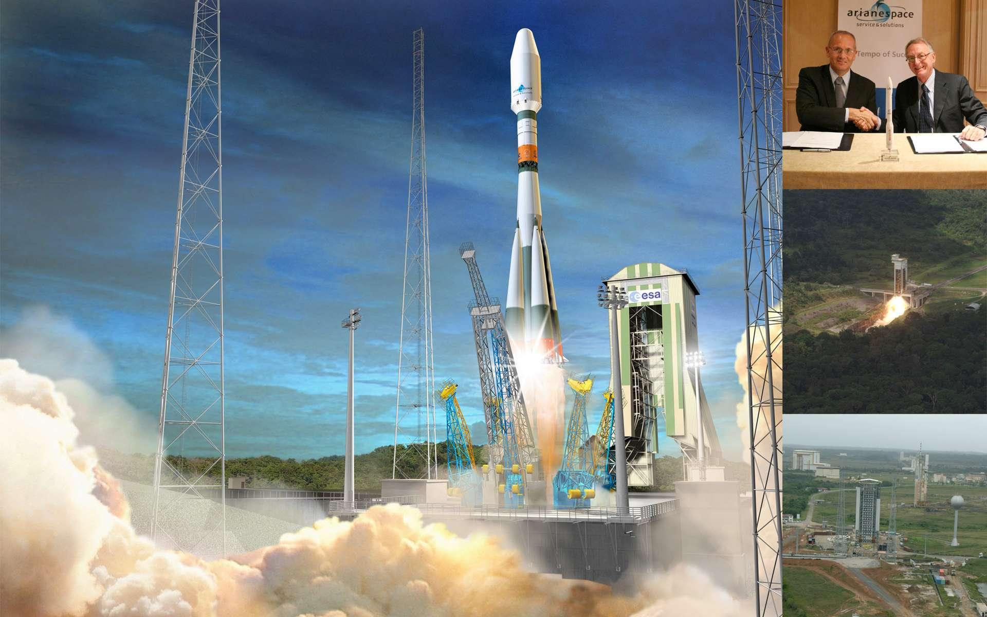 Dimensionné pour l'emport de satellites d'observation et de charges utiles scientifiques de petites tailles, le lanceur Vega va se frotter aux lanceurs russes Dniepr et Eurockot qui ont lancé de nombreux satellites de l'Esa. Crédits Esa / D.Ducros / S. Corvaja