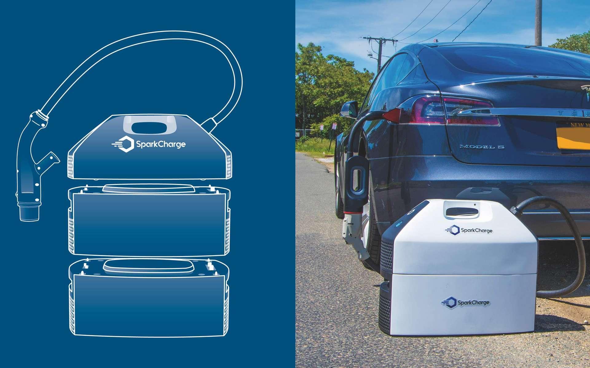 Les modules de recharge mobile de Sparkcharge permettent de gagner de l'autonomie électrique. © Sparkcharge