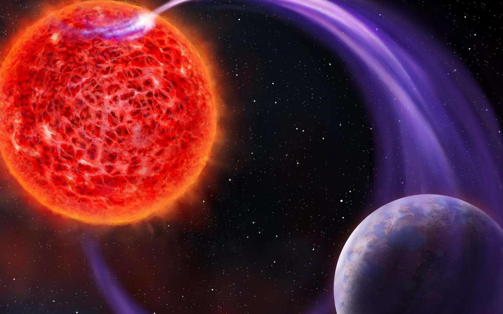 Une vue d'artiste des interactions magnétiques conduisant à des émissions aurorales entre une naine rouge et une exoplanète. © AstronNL