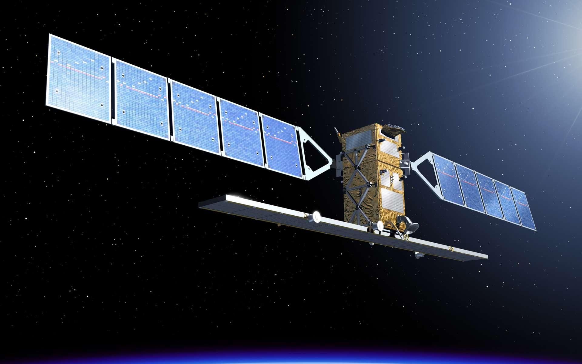 Une vue d'artiste du satellite Sentinel 1A, de 3,8 mètres de côté pour 4,4 mètres de hauteur. On distingue ses deux panneaux solaires et l'antenne du radar à synthèse d'ouverture. © Esa