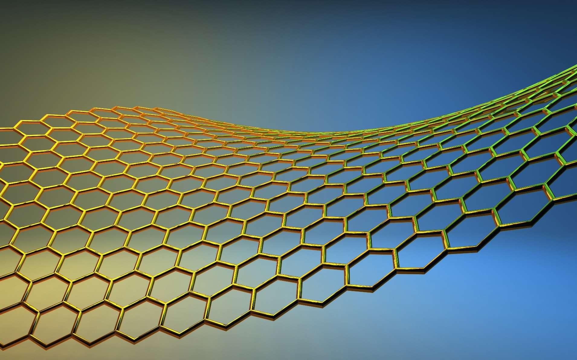 Les feuillets de graphène basiques sont constitués d'un réseau d'atomes de carbone aux sommets d'hexagones, comme le montre cette image d'artiste. D'autres feuillets avec des atomes et des arrangements différents sont aussi considérés dans les recherches sur les nouveaux matériaux. © Shilova Ekaterina, shutterstock