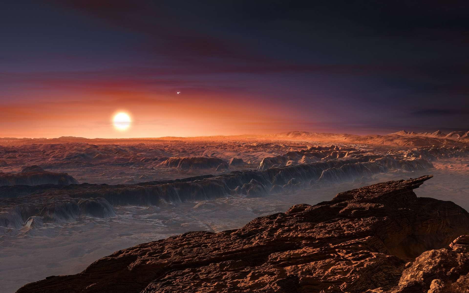 Une vue d'artiste d'une exoplanète rocheuse désertique autour d'une naine rouge. © ESO M. Kornmesser