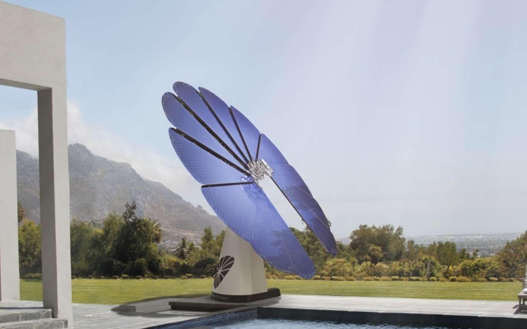 Cette grande fleur, de 4,80 m de diamètre pour 700 kg, s'appelle SmartFlower. Elle suit le soleil à la manière d'un tournesol, une bonne solution pour maximiser le rendement des cellules photovoltaïques. © SmartFlower