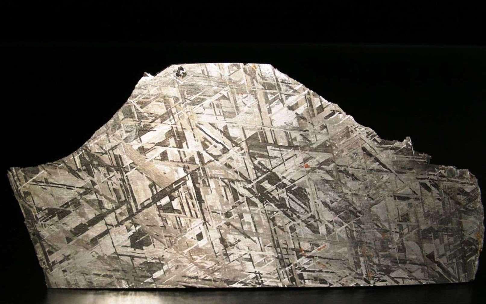 On voit sur cette image une coupe de la météorite Gibeon, une sidérite octaédrite classée IV A, trouvée en Namibie en 1836. La belle structure de ses figures de Widmanstätten et son excellent état de conservation en font la météorite la plus utilisée en bijouterie. Elle est surtout très précieuse pour les géologues car elle donne des indices sur l'aspect du noyau en fer et en nickel de la Terre. Ces météorites pourraient être des vestiges des noyaux de petites planètes. © L. Carion, carionmineraux.com
