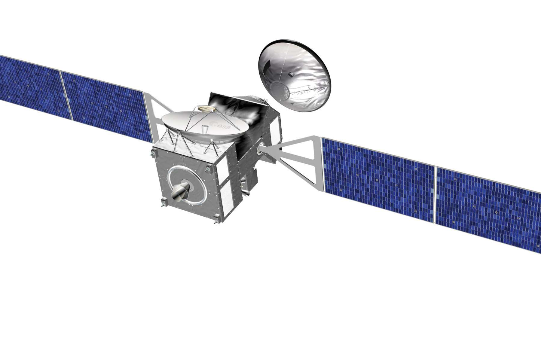 Lancés en 2016 par une fusée Atlas-5, l'orbiteur Trace Gas Orbiter d'ExoMars et l'atterrisseur EDM qu'il transportera mettront neuf mois à rejoindre Mars. © Esa