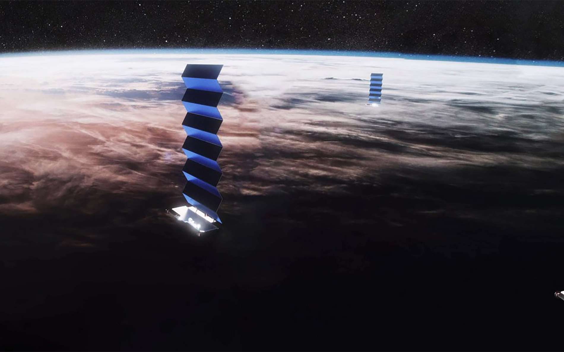 Starlink est une mégaconstellation de satellites de la société SpaceX qui, à terme, pourrait compter jusqu'à 42.000 satellite. Vue d'artiste d'un des satellites de la constellation Starlink. © SpaceX
