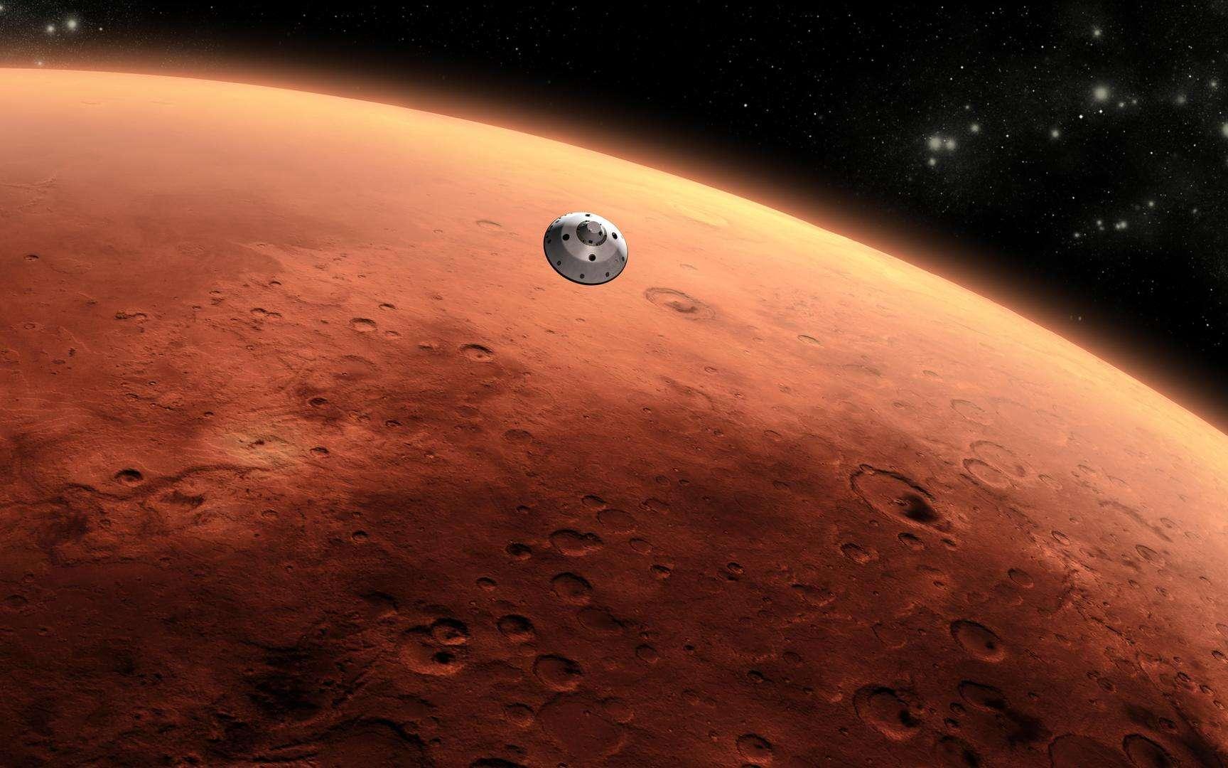Illustration de la capsule contenant le rover Curiosity qui est arrivée sur Mars en août 2012. © Nasa, JPL-Caltech