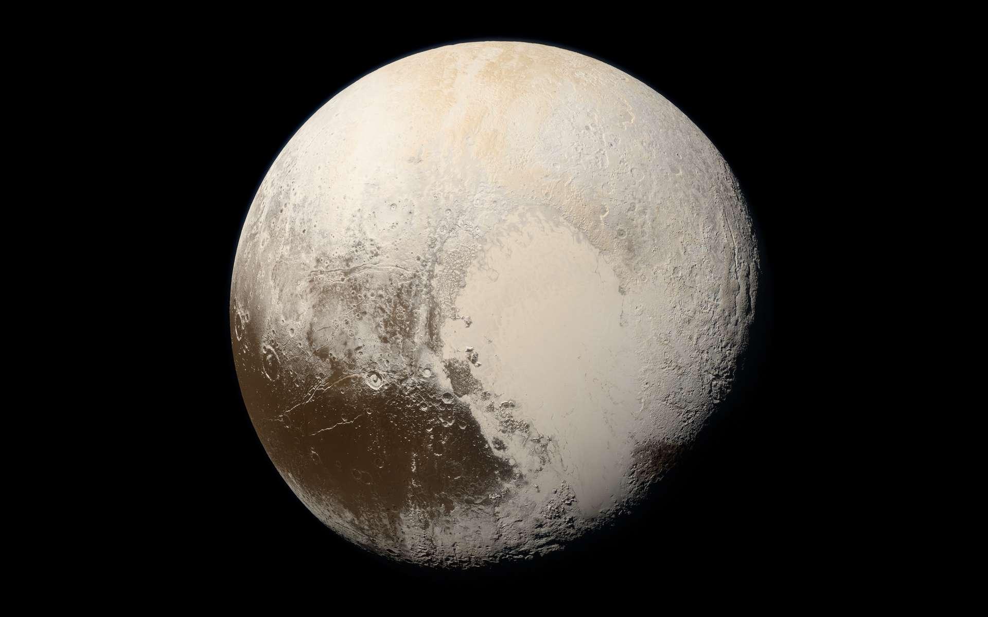Pluton au naturel, sans maquillage. Image tirée des données de MVIC capturées lors du survol historique de la planète naine, le 14 juillet 2015. New Horizons était alors à 35.445 kilomètres de Pluton. © Nasa, JHUAPL, SwRI, Alex parker