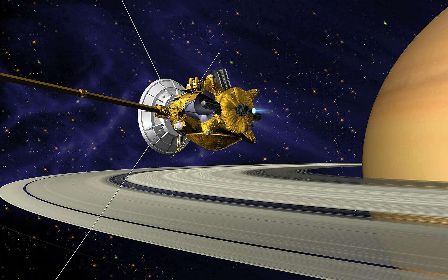Prometheus et les anneaux de Saturne. Image extraordinaire d'un petit satellite de Saturne,Prometheus,perturbant un de ses anneaux et accrétant du matériel de celui-ci. Pour en savoir plus: http://sci.esa.int/science-e/www/object/index.cfm?fobjectid=35229&fbodylongid=1712
