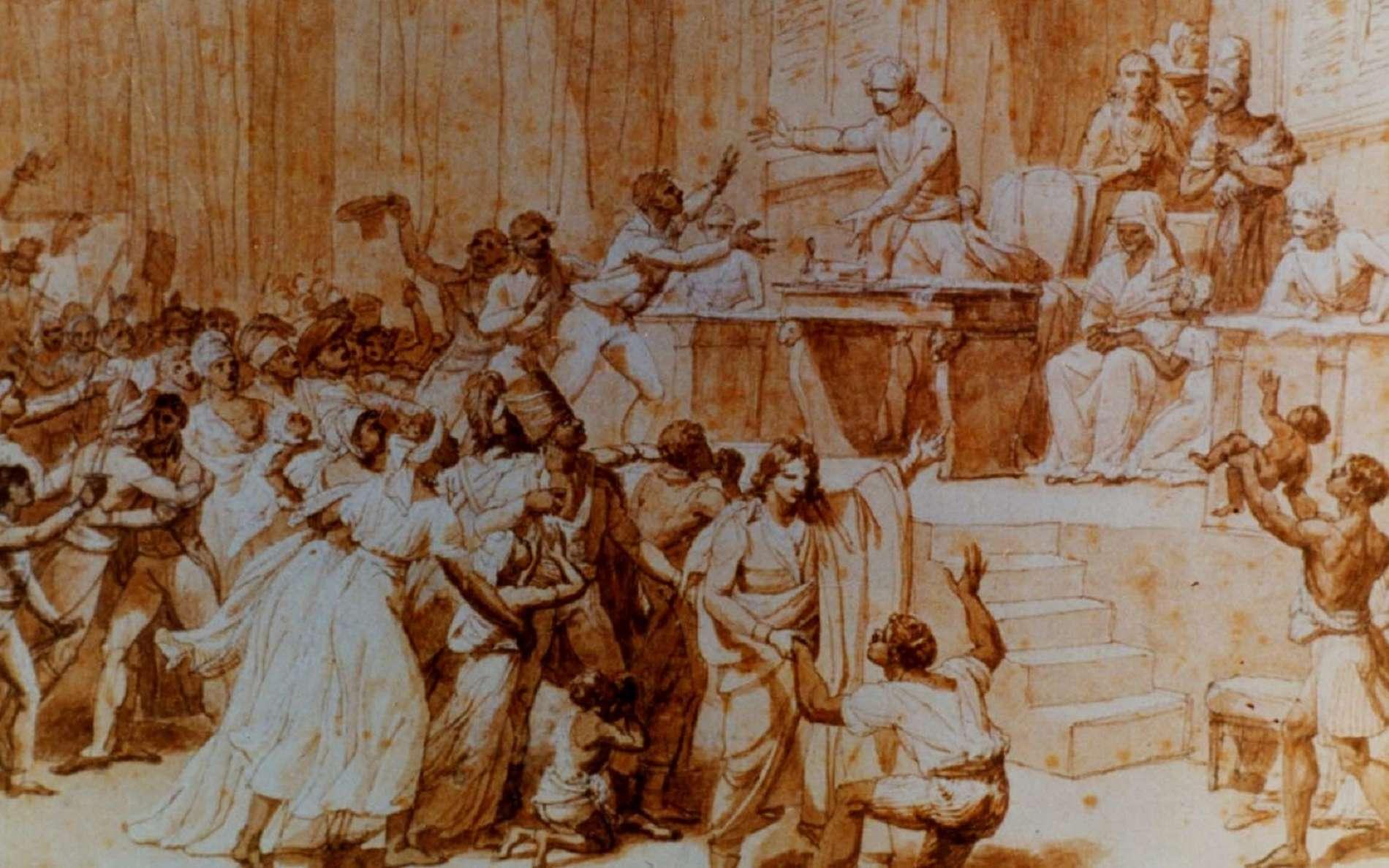 Tableau : « L'abolition de l'esclavage par la Convention nationale », le 16 pluviôse an II ou 4 février 1794, par Nicolas André Monsiau en 1794. Musée Carnavalet, Paris. © RMN-Grand Palais, Bulloz.