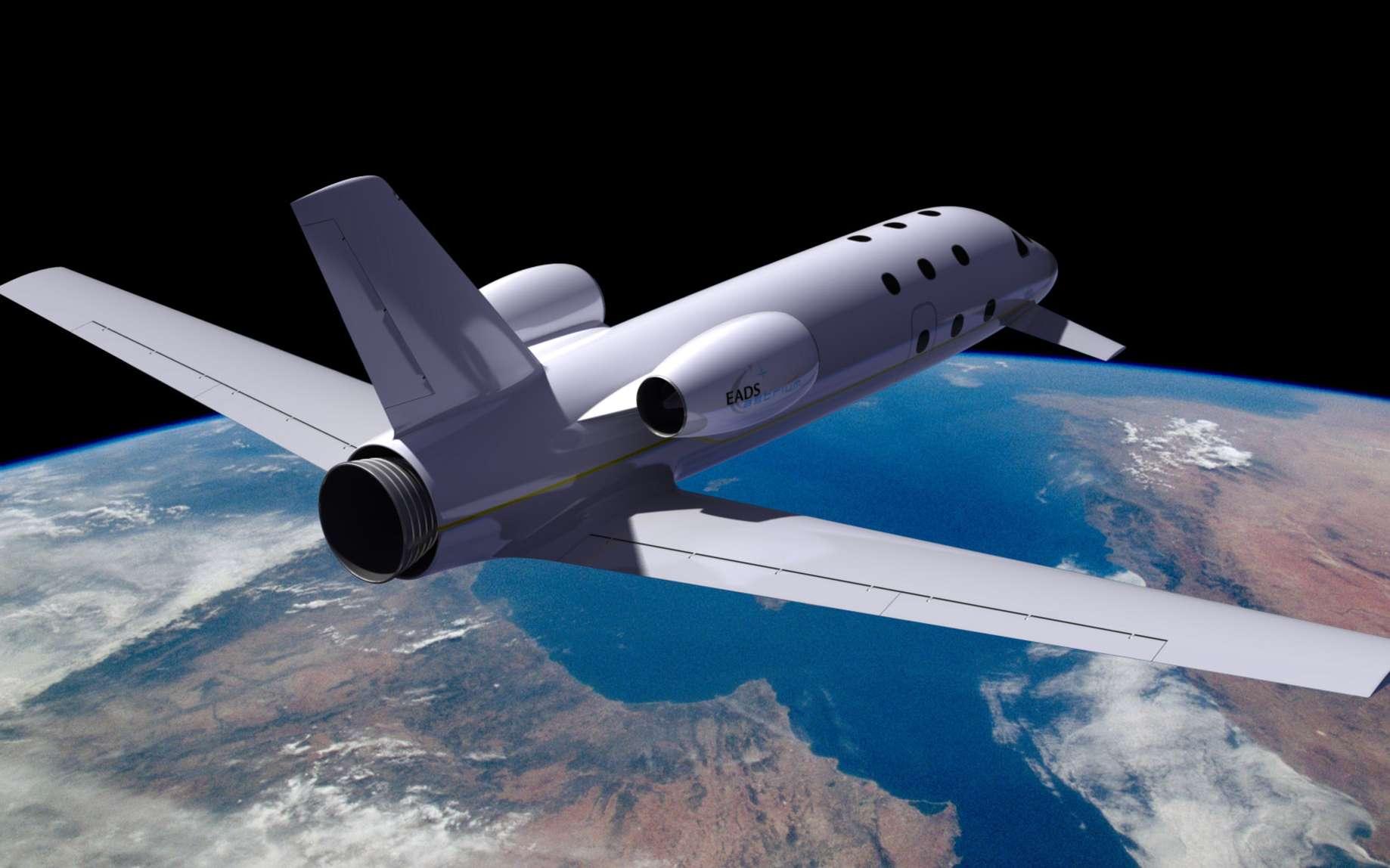 L'avion spatial d'Astrium ressemble à un jet d'affaires traditionnel à la différence qu'il sera équipé d'un moteur fusée fonctionnant avec un mélange d'oxygène liquide et de méthane. Il sera conçu pour les vols atteignant une altitude de plus de 100 km qui marque, par convention, la frontière entre la Terre et l'espace. © Astrium/image MasterImage/2008