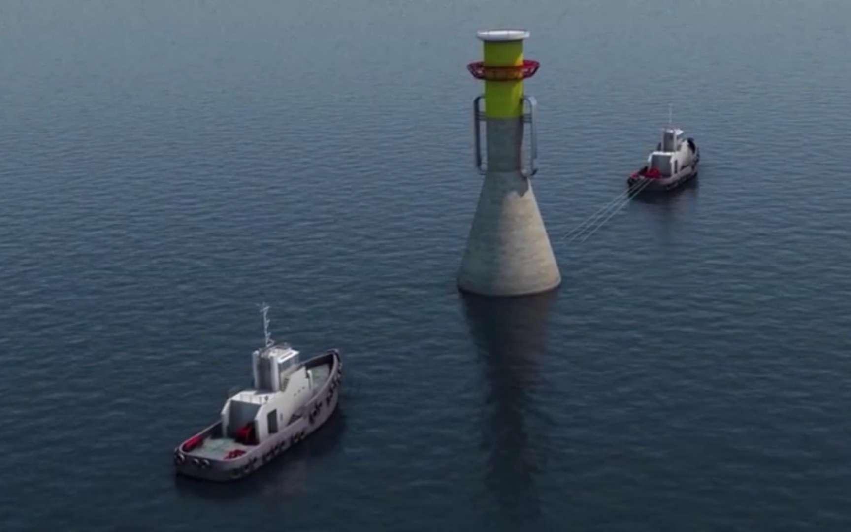 Une fondation en béton, flottante, est transportée vers l'emplacement où elle sera coulée par emplissage des ballasts, dans la Manche. Deux remorqueurs sont représentés sur cette vue d'artiste. Il y en aura en fait trois. But de l'opération : installer des éoliennes en mer. © Éolien Maritime France, YouTube