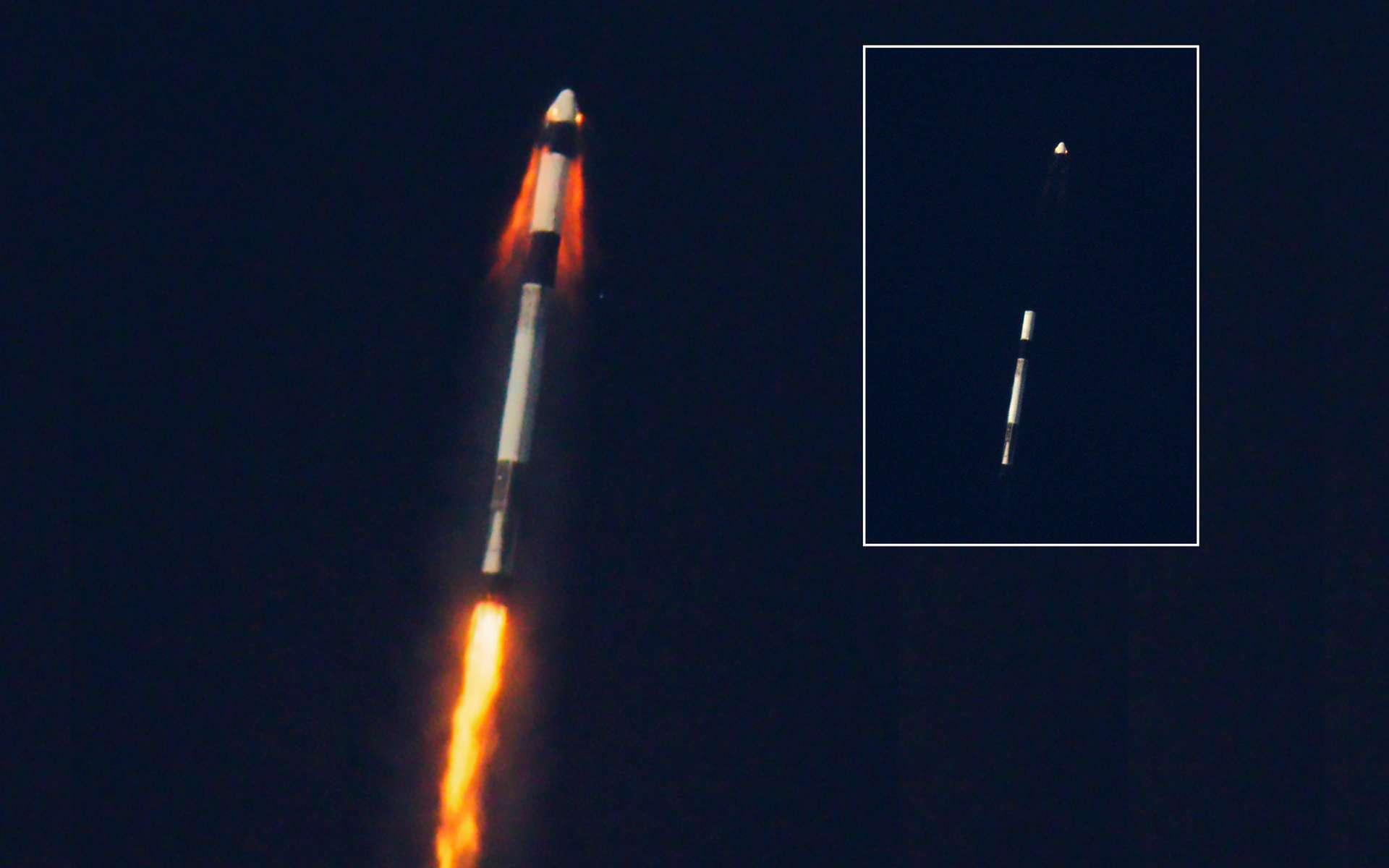 Succès de la démonstration du système d'abandon de lancement de la capsule Crew Dragon s'échappant du lanceur Falcon 9. © SpaceX