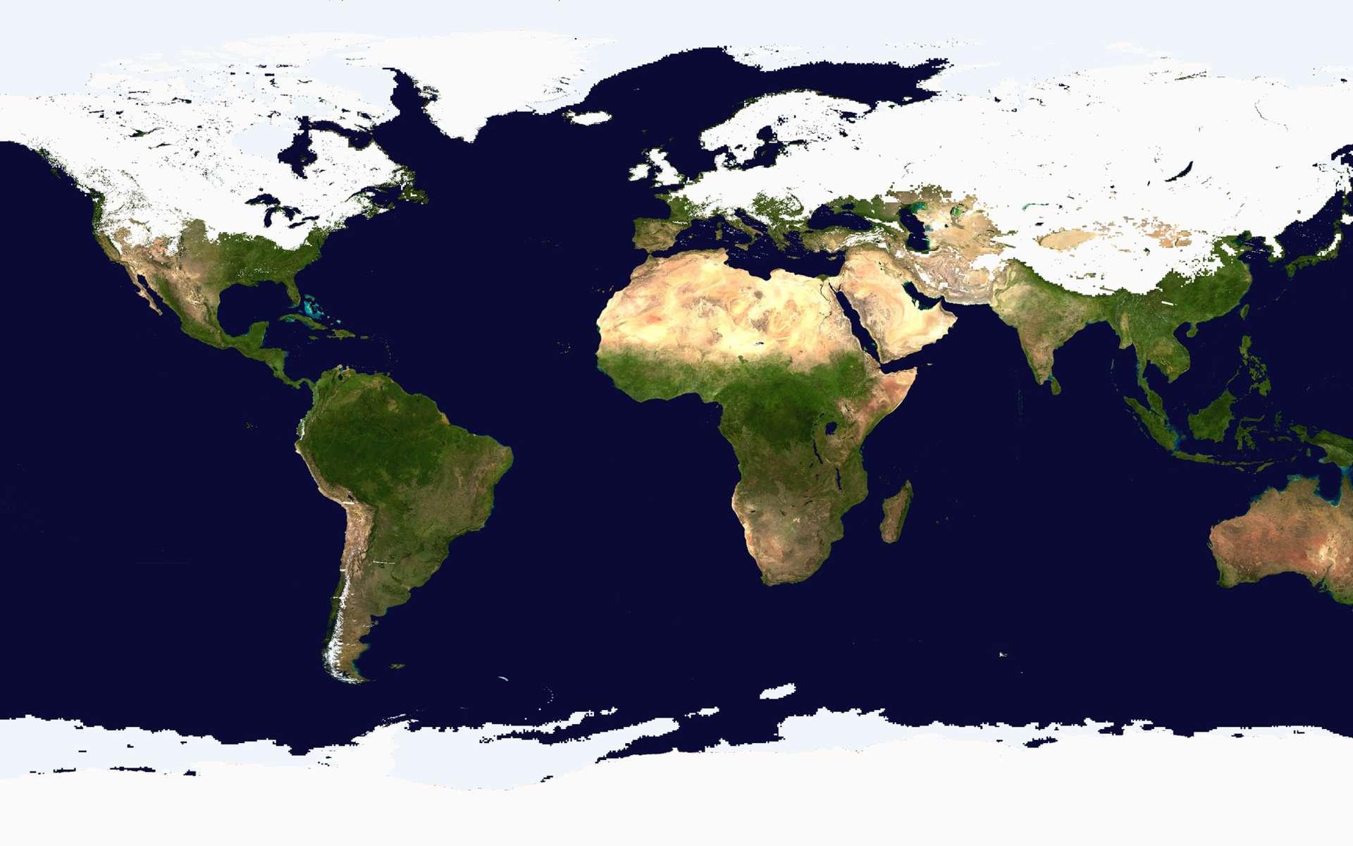 Comme le montre cette carte globale de la Terre, le froid, qui a d'abord touché une grande partie de l'Europe et l'est des États-Unis, s'étend jusqu'au continent asiatique. La neige et la glace recouvrent l'hémisphère nord d'un manteau blanc épais de plusieurs centimètres. © Nasa/Noaa/Center for Satellite Applications and Research