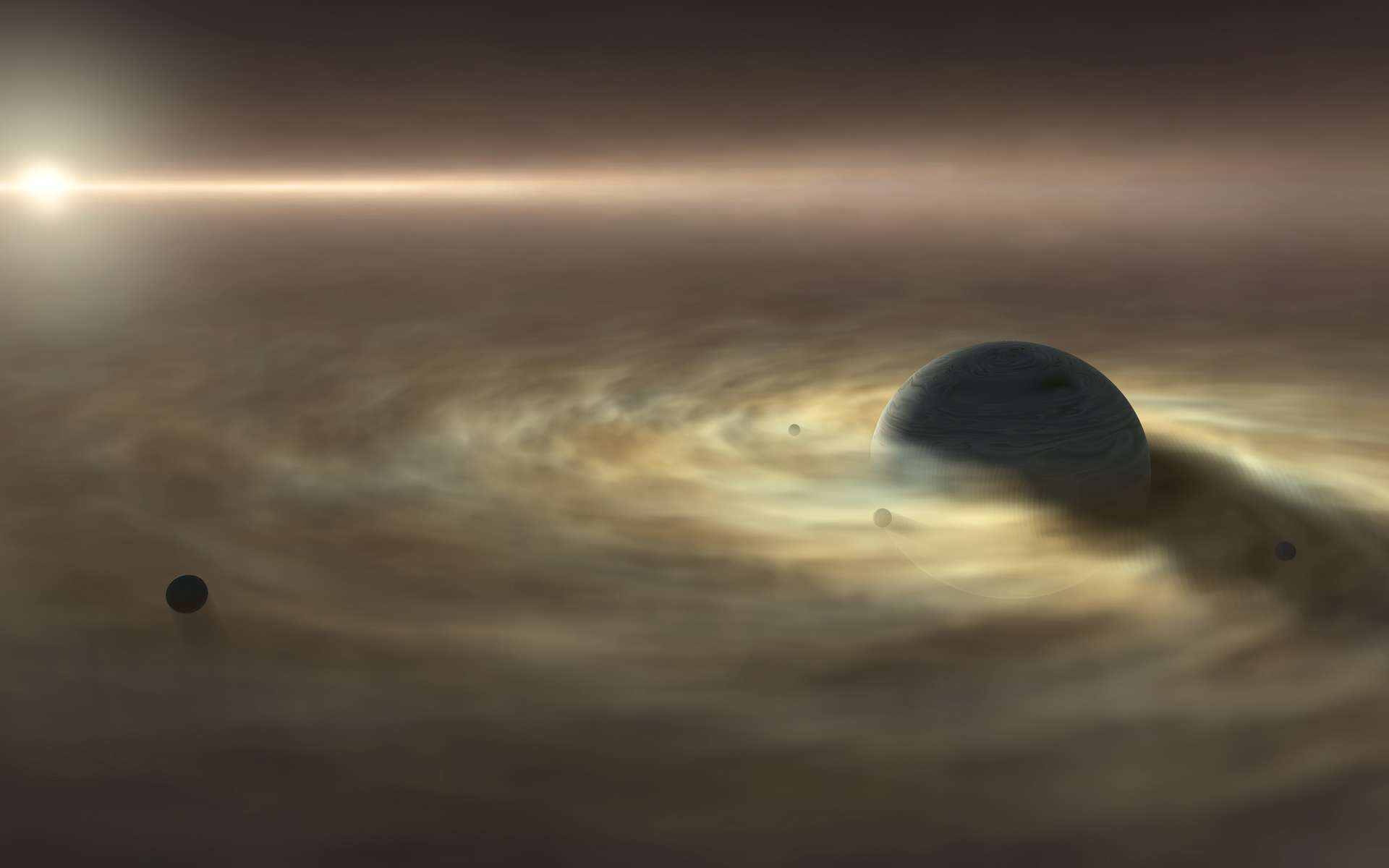 Vue d'artiste de satellites se formant autour d'une planète gazeuse géante. © Nagoya University