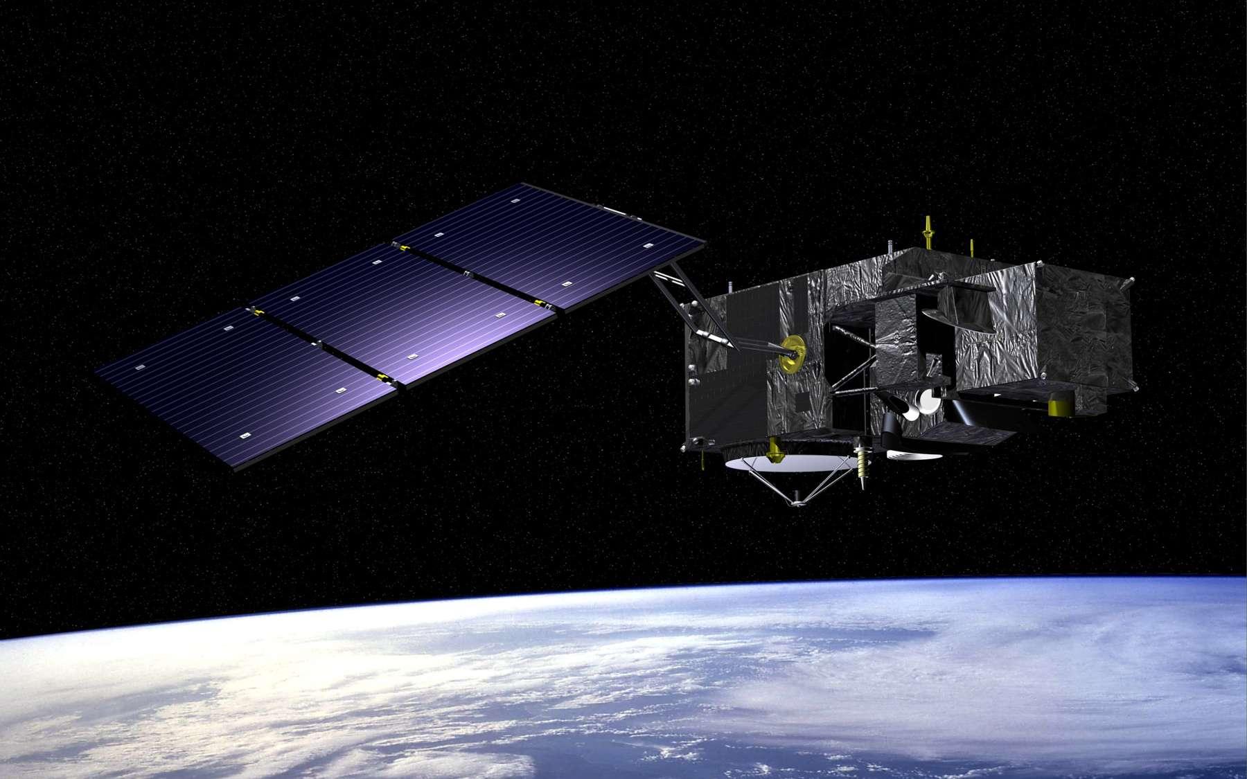 Vue d'artiste de Sentinel 3. Notez le choix d'un seul panneau solaire qui, associé à une configuration de vol longitudinale, permet d'avoir une importante face froide pour le satellite. C'est essentiel pour le contrôle thermique des instruments optiques. © Esa, J. Huart